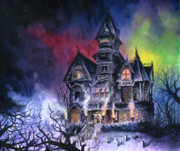 Horror Paintings - Haunted House by Ken Meyer jr