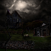 Haunted House  Digital Art Prints - Haunted House Print by Lisa Evans