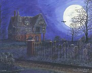 Haunted Mansion  Paintings - Haunted House by Lori  Theim-Busch