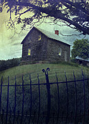 Closed Prints - Haunted house on a hill with grunge look Print by Sandra Cunningham