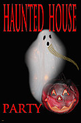 Fun Card Mixed Media Posters - Haunted House Party Poster by Debra     Vatalaro