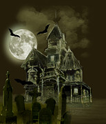 House With Cemetery Paintings - Haunted mansion by Gina Femrite
