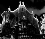Theme Park Prints - Haunted Mansion Night Print by David Lee Thompson