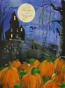 Haunted House Painting Framed Prints - Haunted Night Framed Print by Sylvia Pimental
