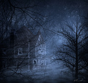 Gloomy Trees Posters - Haunted Place Poster by Svetlana Sewell