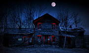 Night Scenes Posters - Haunted Red Poster by Emily Stauring
