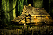 Barn In The Woods Posters - Haunted Shack Poster by Lourry Legarde