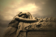 Cemetery Art Photos - Haunting Cemetery Angel Mourner Rose Casket by Kathy Fornal
