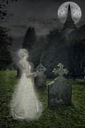 Headstones Posters - Haunting Poster by Christopher and Amanda Elwell