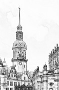 Pencil Drawing Photo Posters - Hausmannsturm in Dresden Germany Poster by Christine Till