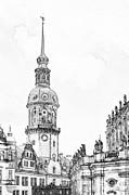 Hausmannsturm In Dresden Germany Print by Christine Till
