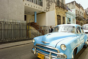 Synagogue Photos - Havana Cuba Blue Car in Front of Temple by Michael Dubiner