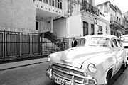Synagogue Photos - Havana Cuba Car in Front of Temple  by Michael Dubiner
