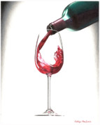 Red Wine Bottle Drawings Prints - Have a glass Print by Ashley Macinnis