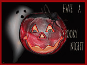 Booo Card Mixed Media Posters - Have A Spooky Night Poster by Debra     Vatalaro