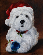 Westie Puppies Prints - Have Yourself a Merry Little Christmas  Print by Mary Sparrow Smith