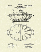 Hotel Drawings Prints - Haviland Dish Design 1900 Patent Art Print by Prior Art Design