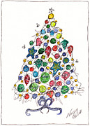 Christmas Notecard Originals - Having A Ball Christmas Tree by Michele Hollister - for Nancy Asbell
