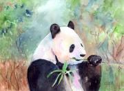 Panda Bear Paintings - Having A Snack by Arline Wagner