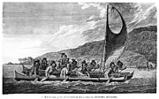 Islander Framed Prints - Hawaii: Canoe, 1779 Framed Print by Granger