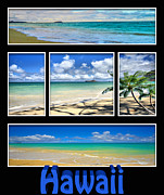 Livingroom Framed Prints - Hawaii Pentaptych Framed Print by Cheryl Young