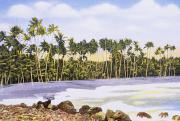 Hawaiian Vintage Art Paintings - Hawaii Postcard by Hawaiian Legacy Archive - Printscapes