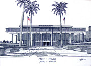 Ink Prints - Hawaii State Capitol Print by Frederic Kohli
