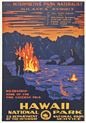 Volcano Digital Art - Hawaii Vintage Travel Poster by Nomad Art And  Design