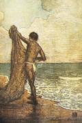 Hawaiian Vintage Art Prints - Hawaiian Fisherman Painting Print by Hawaiian Legacy Archive - Printscapes