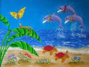 Ocean Turtle Painting Originals - Hawaiian Lei Day by Pamela Allegretto