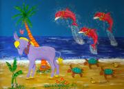 Donkey Mixed Media - Hawaiian Lei Parade by Pamela Allegretto