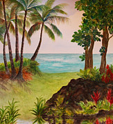 Oceanside Painting Prints - Hawaiian Oceanside Print by Kerri Ligatich