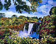 Most Popular Painting Originals - Hawaiian Paradise Falls by David Lloyd Glover