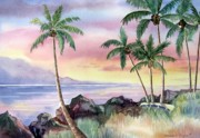 Oceanscape Paintings - Hawaiian Sunset by Deborah Ronglien