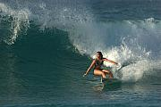 Wave Art Photos - Hawaiian Surfer Girl Bottom Turn by Brad Scott