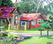Raw Umber Art - Hawaiian Tin Roofs by E Dan Barker