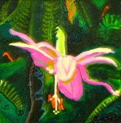 Salmon Painting Posters - Hawaiian Wildflower Poster by Angela Annas