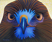 Hawk Paintings - Hawk - The Messenger by Brian  Commerford