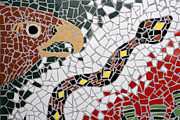 Mosaic Photos - Hawk and Snake Mosaic by Carol Leigh