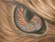 Closeup Pastels Prints - Hawk Eye Thunderbird Print by Alysa Sheats