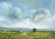 Landscape Prints Paintings - Hawk over the Yar valley by Alan Daysh