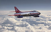 Raf Aircraft Posters - Hawker Hunter Poster by Pat Speirs