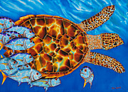 Fish Art Tapestries - Textiles Prints - HaWKSBILL - JACKS  Print by Daniel Jean-Baptiste