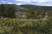 Canada Painting Prints - Hawthorn vineyard in British Columbia-Canada Print by Guido Borelli