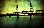 Digital Layers Prints - Hawthorne Bridge Print by Cathie Tyler