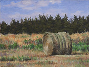 Landscape Paintings - Hay Bale by Will Kefauver