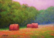 Hay Bales Pastels Framed Prints - Hay Bales and Thunder Framed Print by Paula Ann Ford