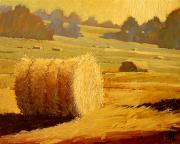 Haybale Painting Posters - Hay Bales of Bordeaux Poster by Robert Lewis