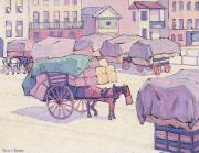 Carts Framed Prints - Hay Carts - Cumberland Market Framed Print by Robert Polhill Bevan