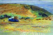 Bay Pastels Posters - Hay Harvest on the Coast Poster by Donald Maier